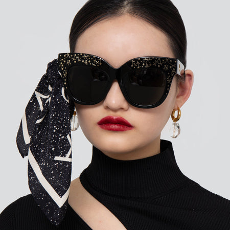 Dunaway Oversized Sunglasses in Sparkled Black