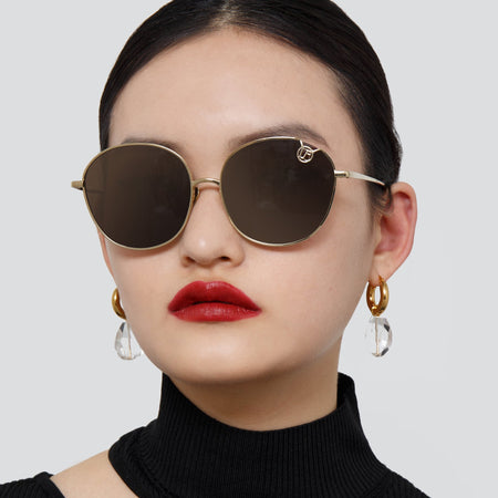 Hannah Cat Eye Sunglasses in Light Gold and Brown