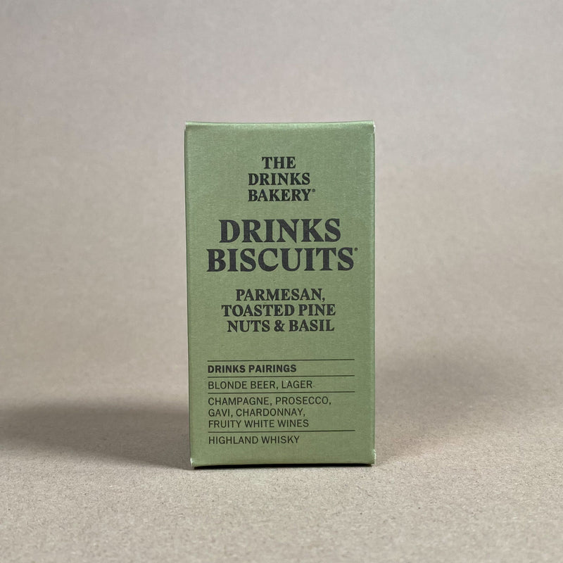 Drinks Biscuits. Parmesan, Toasted Pine Nuts and Basil