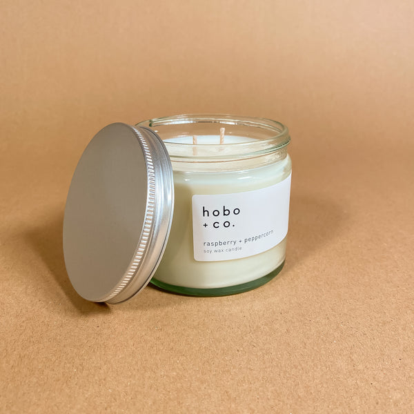 Hobo + Co Raspberry and Peppercorn Candle Jar