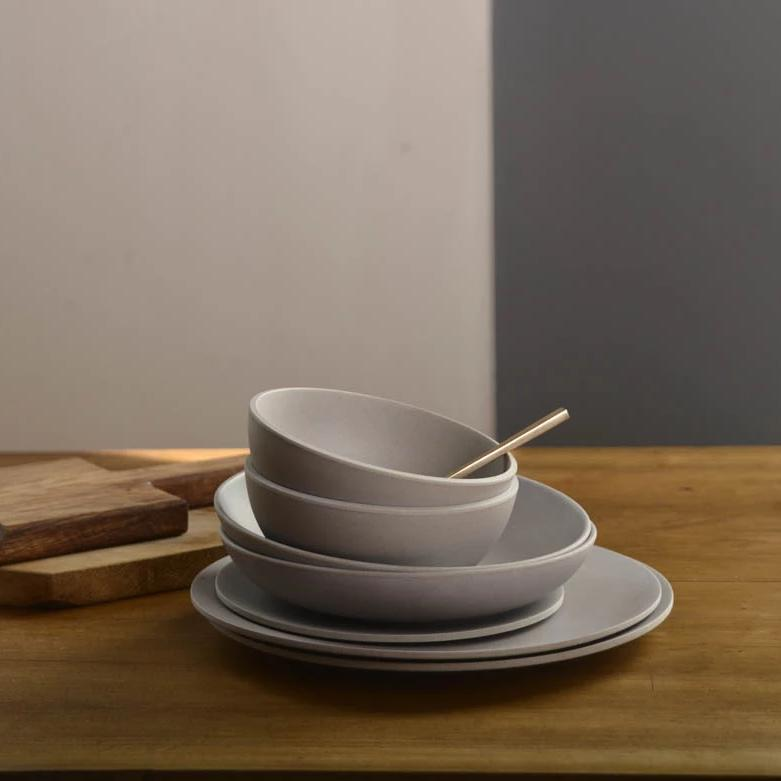 Dishwasher safe large bamboo plate in grey
