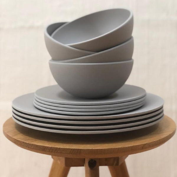 12 piece Grey Bamboo Tableware Set