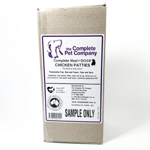 Raw dog food - home delivered to central coast nsw and sydney - this is a sample pack size of chicken