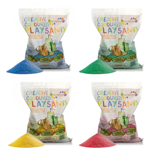 Coloured Play Sand - 4 x 5kg Bags (Blue, Green, Yellow, Red)