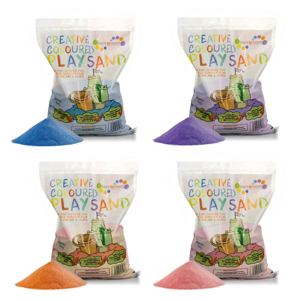 Coloured Play Sand - 4 x 5kg Bags (Pink, Purple, Orange, Blue)