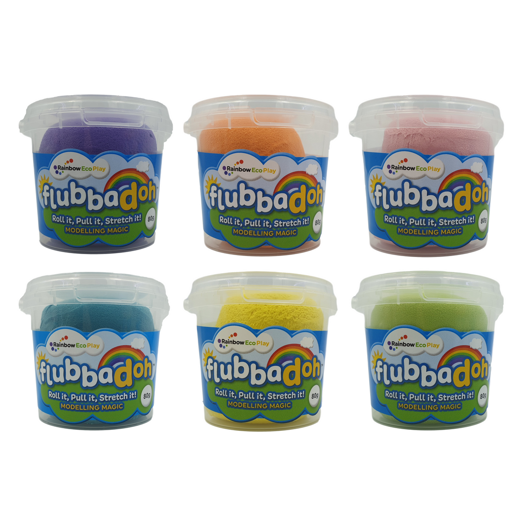 flubbadoh - Bright Pack of 6 (Purple, Orange, Turquoise, Yellow, Pink, Green)