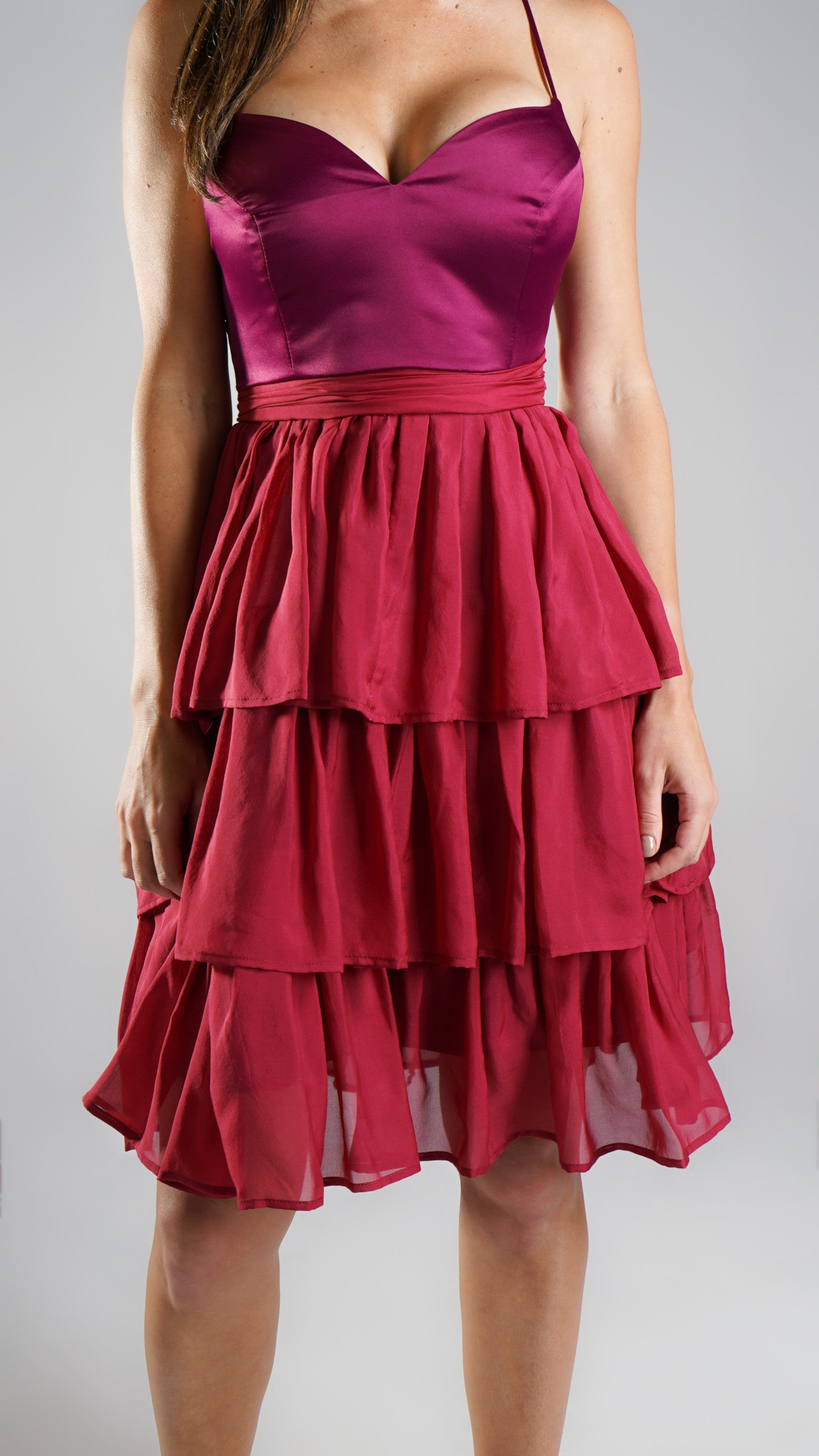 Gemma Frill Dress Mini Burgundy