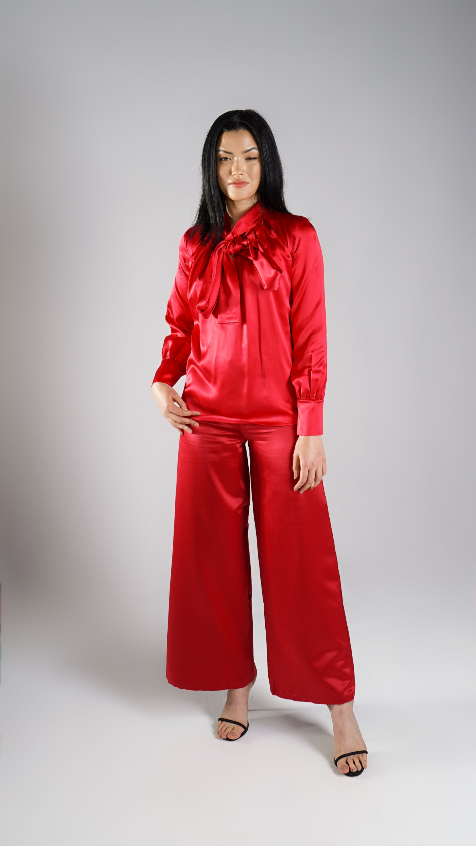 Pure Silk Elegant Luxury Designer Red Blouse for Women