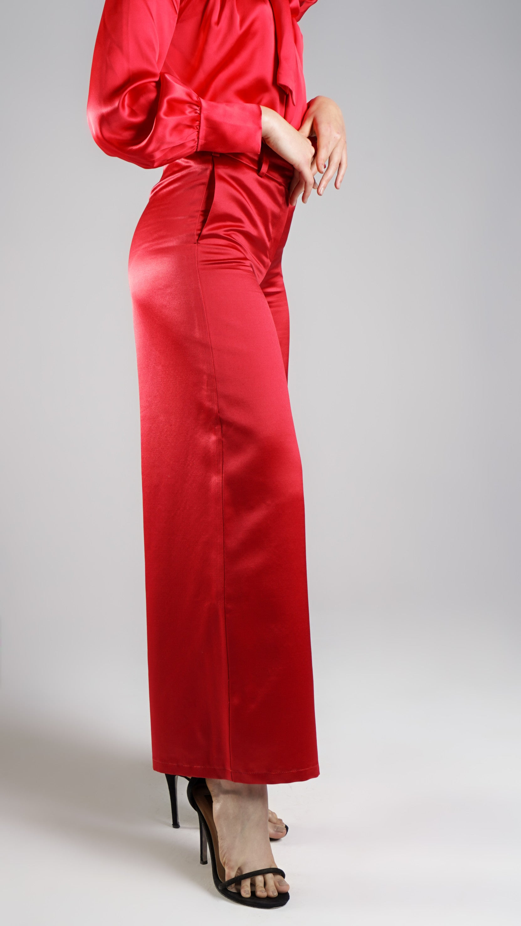 Party Wear Women Designer Red Pants in High End Pure Silk Ethically Made