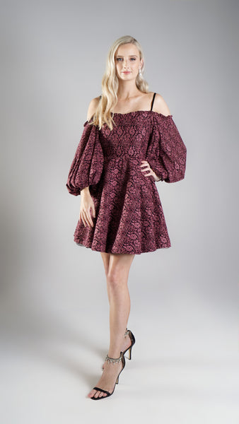 Evening Party Embroidered Lace Dress for Women with Oversized Balloon Sleeves for Women in Australia