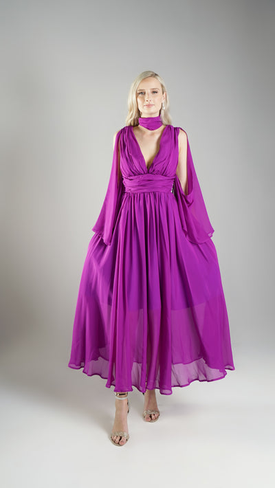 100% Silk Purple Resort Wear Maxi Dresses Online for Women with Detachable Sleeves