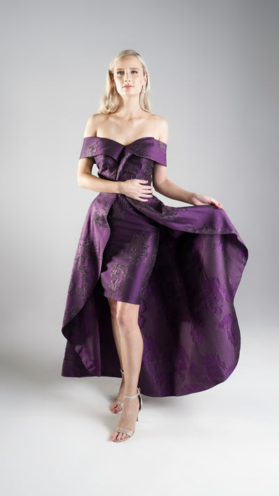 Elegant Designer Cocktail Violet Off Shoulder Asymmetric Dress with Detachable Skirt