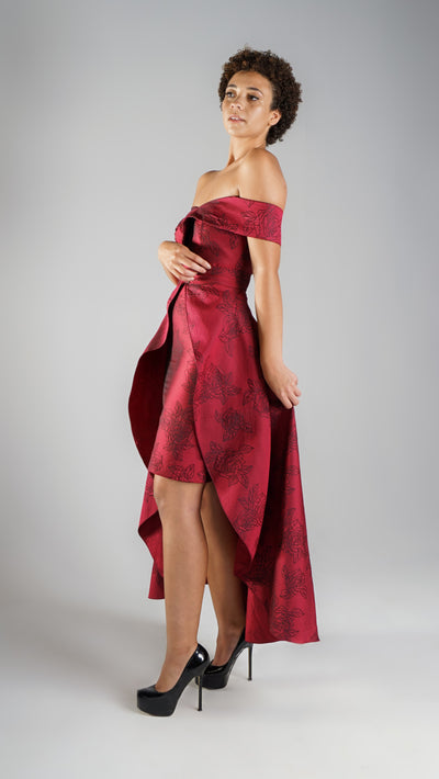 Elegant Designer Cocktail Red Off Shoulder Asymmetric Dress with Detachable Skirt