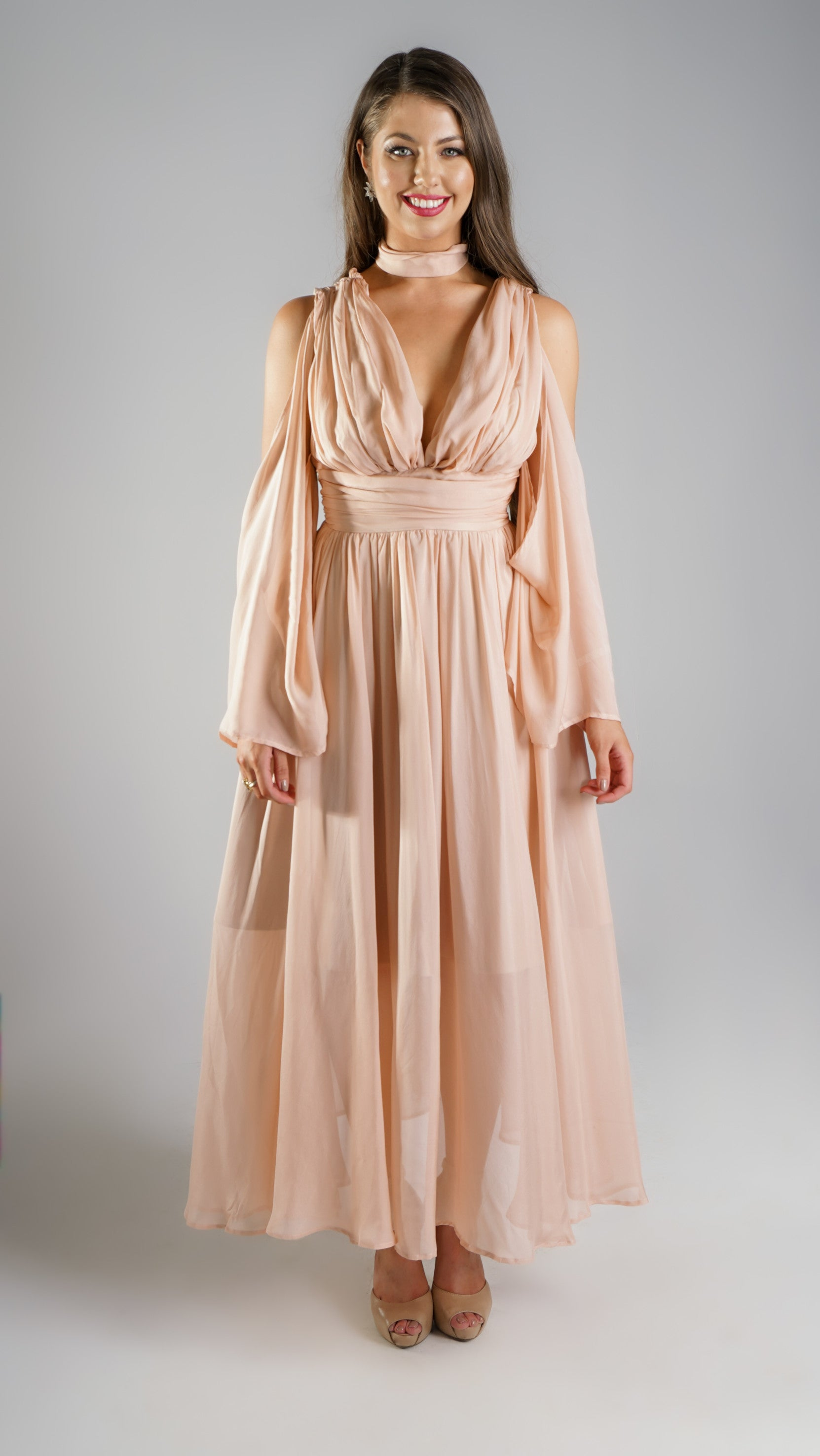 Nude Maxi Cocktail Designer Dress for Women with Detachable Sleeves
