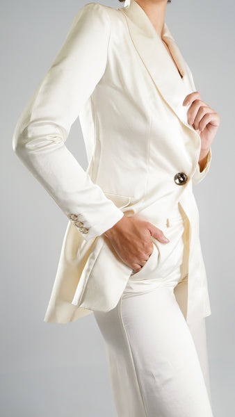 Formal Women Designer White Chic Blazer in High End Pure Silk and  Swarovski Buttons