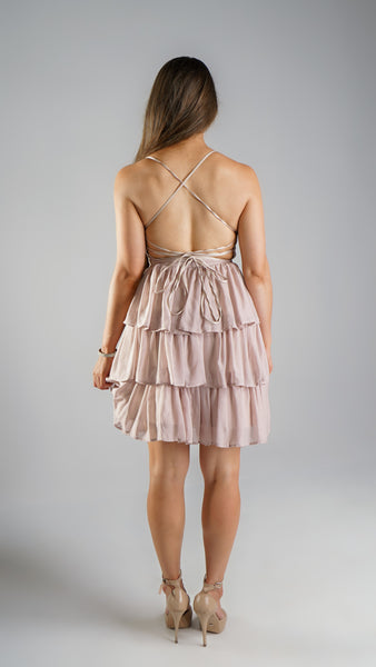 Gemma Frill Dress Mini Nude