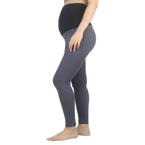 Elfus Maternity Yoga Pants, Black and Dark Grey Maternity Active Leggings