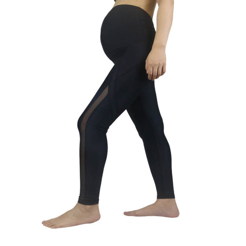 Elfus Maternity Yoga Pants, Women Mesh Black Pregnancy Pants