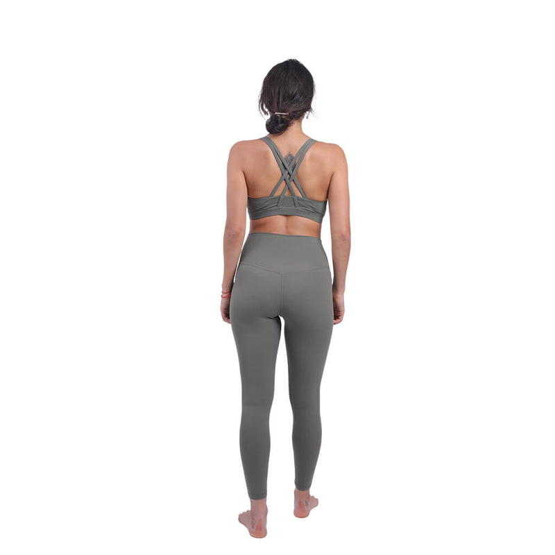 WOMEN'S HIGH-WAIST SOLID COLOR YOGA SUIT SET -BRA AND YOGA PANTS