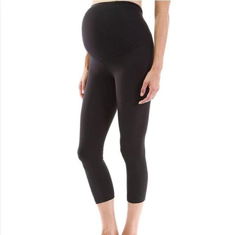 Black Maternity Yoga Pants, 7/8 Seamless High Waisted Maternity Pants