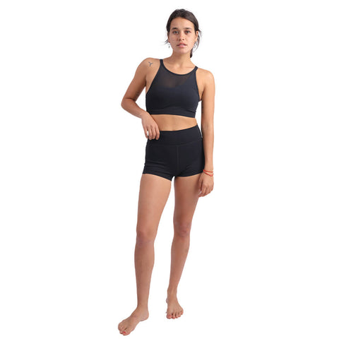 Elfus Women's High-waisted Bikram Yoga Suit Set in Black