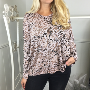 ABSTRACT ANIMAL PRINT FINE KNITTED TOP IN PINK