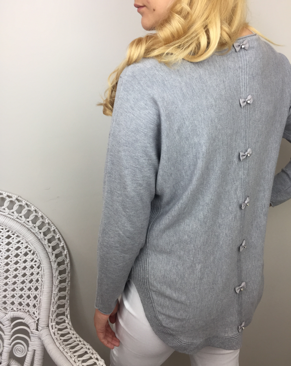 SATIN BOW BACK KNIT IN MID GREY