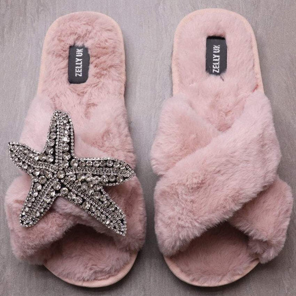 PINK FLUFFY SILVER STARFISH SLIPPERS