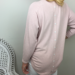 DIAMANTE BUTTON BACK DETAIL KNIT IN PALE PINK