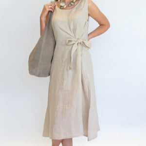 D.E.C.K BY DECOLLAGE TIE WAIST LINEN DRESS IN STONE