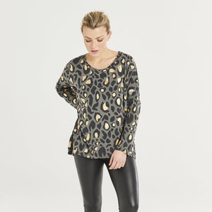 A POSTCARD FROM BRIGHTON GWEN LONG SLEEVED TOP CHARCOAL