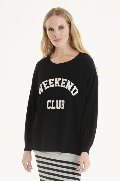 A POSTCARD FROM BRIGHTON WEEKEND CLUB SWEATER IN BLACK