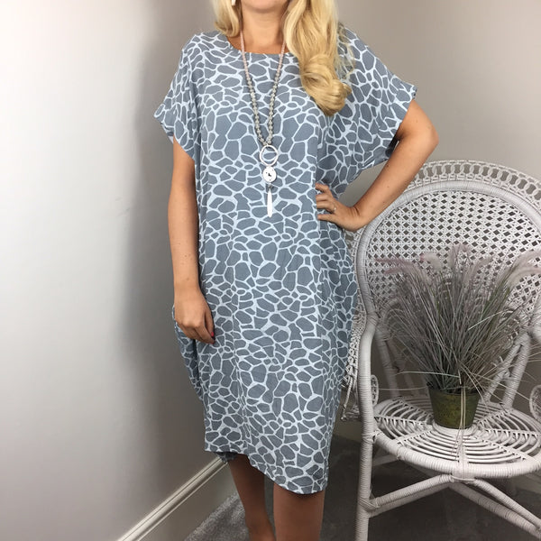KNOT BACK COCOON DRESS IN SILVER GREY