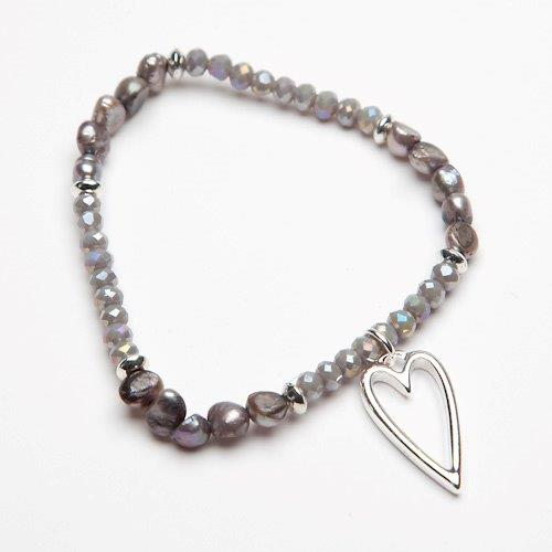 GREY PEARL & BEAD BRACELET WITH OPEN HEART CHARM