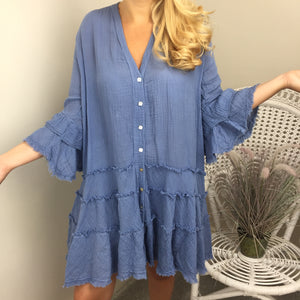 CHEESECLOTH FRILL DRESS IN DENIN BLUE