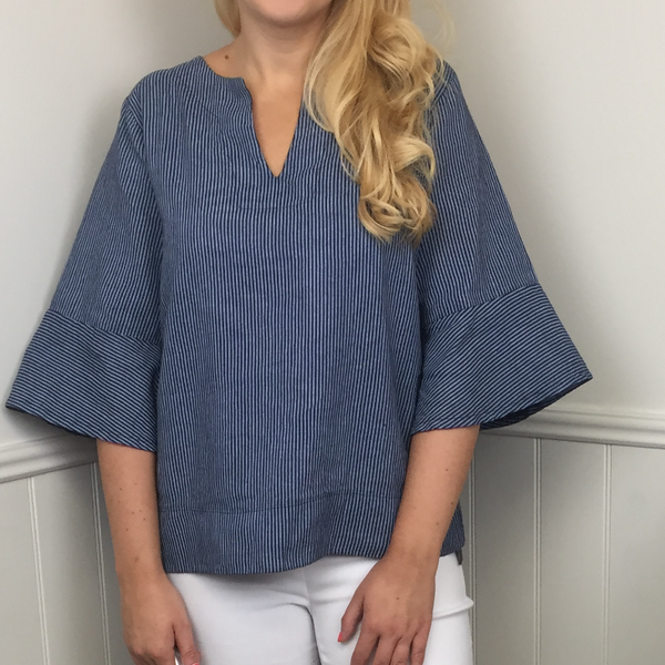 FRILL SLEEVE LINEN TOP IN NAVY STRIPE