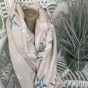 COTTON AND CASHMERE STAR SCARF IN PINK