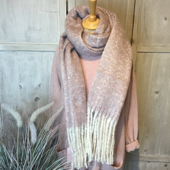 LILAC TASSEL SOFT KNITTED WINTER SCARF