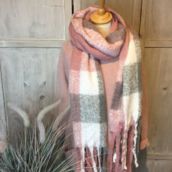 CREAM, PINK & GREY CHECKED WINTER SCARF