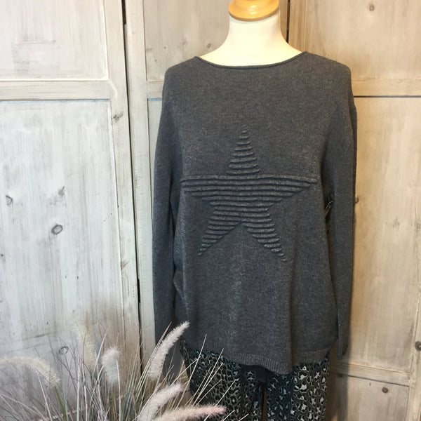 SUPER SOFT STAR KNITTED JUMPER IN CHARCOAL
