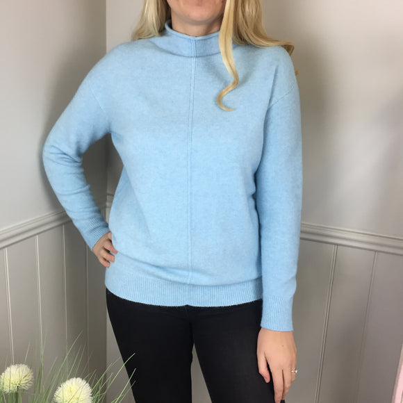 CASHMERE FEEL ROLL NECK SWEATER TURQUOISE