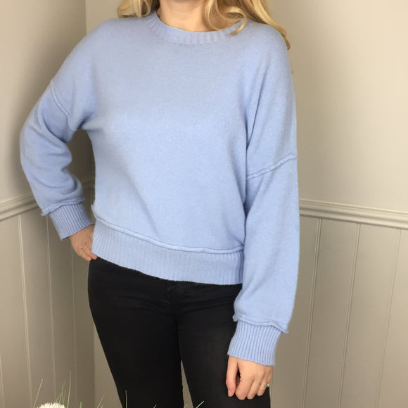CASHMERE FEEL CROP SWEATER IN PALE BLUE