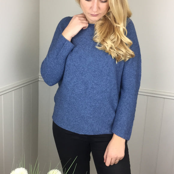 SOFT WAFFLE KNIT IN DENIM BLUE