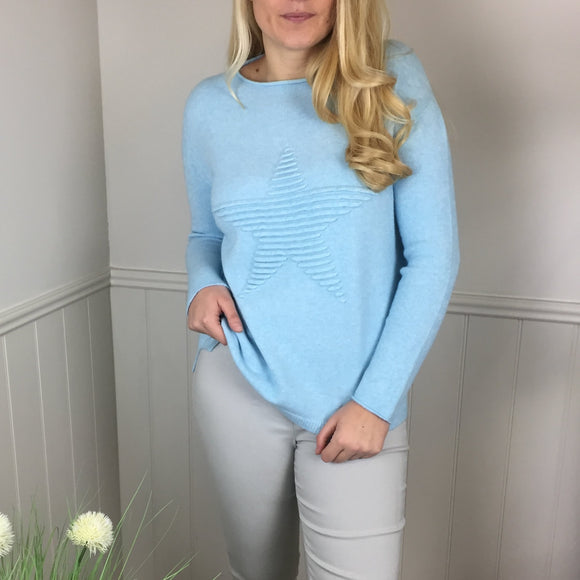 SUPER SOFT STAR KNITTED JUMPER IN PALE TURQUOISE
