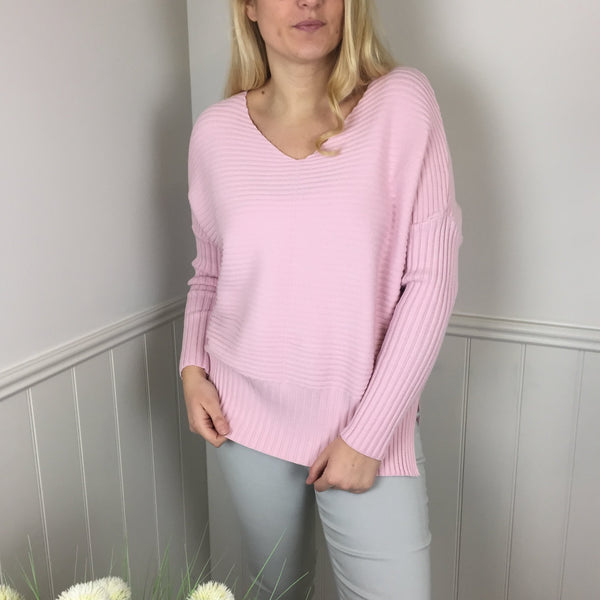 V-NECK RIBBED SWEATER IN PALE PINK
