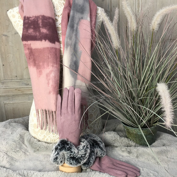 LILAC TWISTED FUR TRIM GLOVES