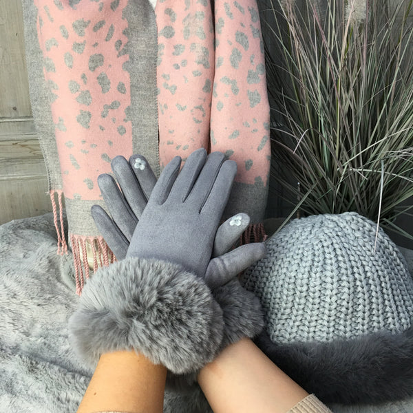 LUXURY SILVER GREY FAUX FUR TRIM GLOVES