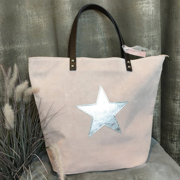 SUEDE STAR HANDBAG IN PINK