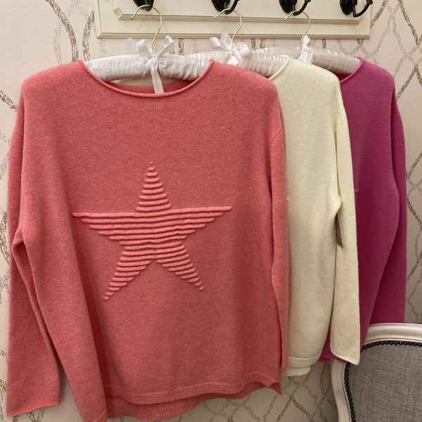 SUPER SOFT STAR KNITTED JUMPER IN CORAL