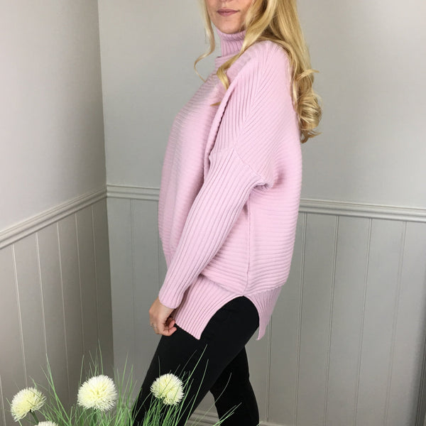 OVERSIZED RIBBED POLO KNIT IN PINK